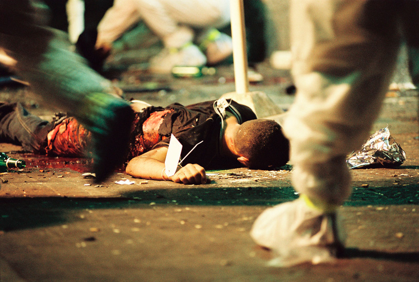 Body of perpetrator at the Neve Shaanan Street bombing.