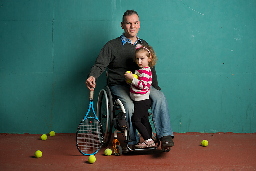 Boaz Kramer, former paralympic tennis champion with his daughter, Romi.
