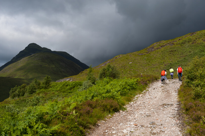 Walking the last leg of the West Highland Way, Lairig Mor.