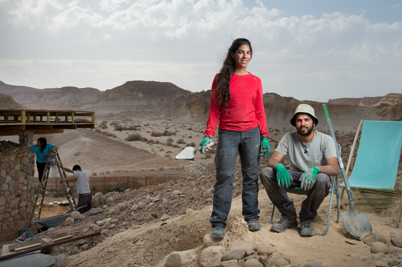 Gal & Shanit at the settlement of Tzukim in the Arava desert.