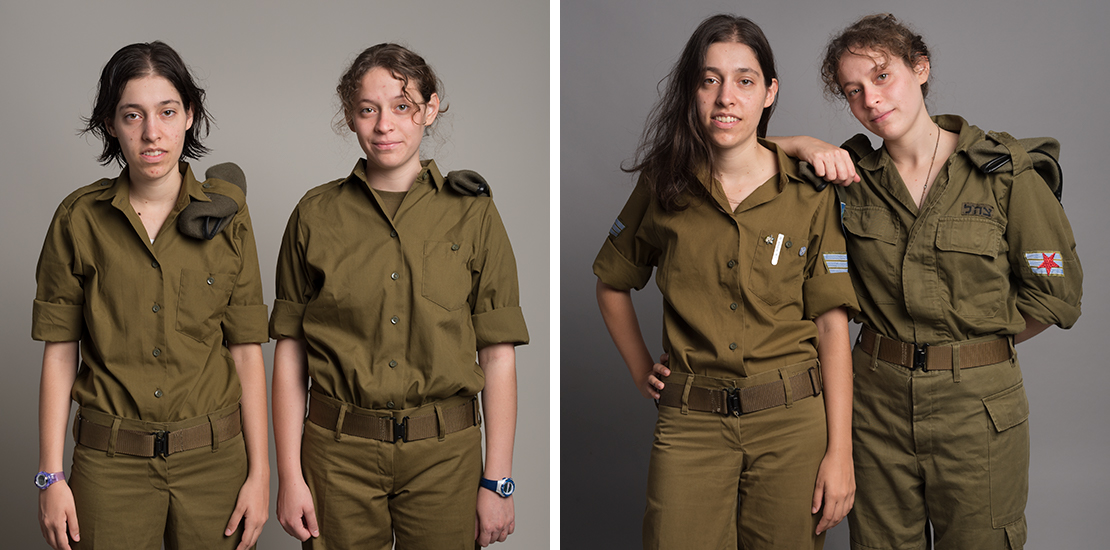 Miriam & Evie, first and last day of Army service, 2016 & 2018